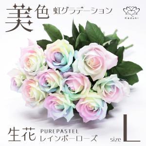レインボーローズ 花束 7本 プレミアムレインボーローズ Soleil ソレイユ 生花 バラ ミニ花束 パステルカラー