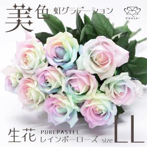 レインボーローズ 花束 10本 プレミアムレインボーローズ Soleil ソレイユ 生花 バラ 花束 パステルカラー