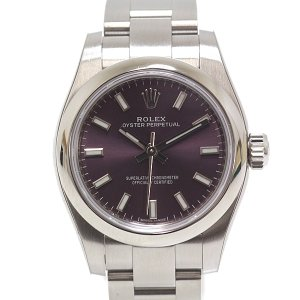ROLEX ロレックス レディース腕時計 オイスターパーペチュアル 176200 レッドグレープ文字...
