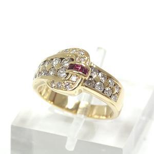 K18YG ルビー デザイン リング 13号 D0.77/R0.11ct ダイヤモンド イエローゴールド パヴェ ベルト 指輪 仕上げ済 中古|kadusaya78