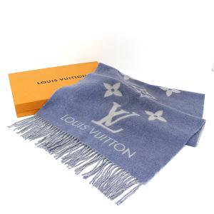 ルイ・ヴィトン Louis Vuitton エシャルプ・レイキャビック M75704 ストール カシミヤ100% マフラー レディース デニム 水色 白【中古】Aランク kadusaya78