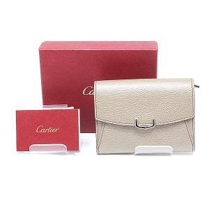 Cartier カルティエ レザー2つ折り財布 ベージュ 未使用品|kadusaya78