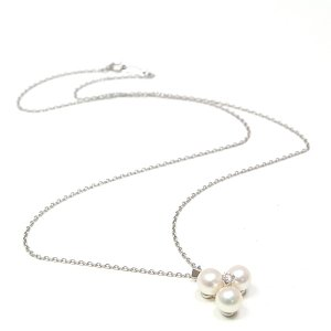 ミキモト MIKIMOTO パール ダイヤモンド ネックレス K14WG/パール(6.3mm)/ダイヤモンド 45cm チェーン社外品 中古|kadusaya78