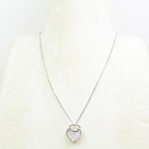 カルティエ Cartier K18WG ハート パヴェ ダイヤモンド ネックレス B7224100 41/38cm ホワイトゴールド 仕上げ済 中古|kadusaya78