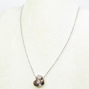 スタージュエリー STAR JEWELRY ハート デザインネックレス K18PG/WG/ダイヤモンド(0.03ct)  40cm アジャスターチェーン(5cm)付き 仕上げ済 中古|kadusaya78