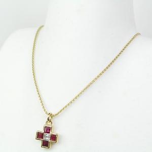 ブルガリ BVLGARI ルビー ダイヤモンド クロス ペンダント K18YG 42cm ネックレス 750YG 仕上げ済 中古|kadusaya78