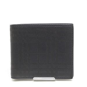 BURBERRY バーバリー パンチングチェック 二つ折り財布 ブラック(黒)未使用品|kadusaya78