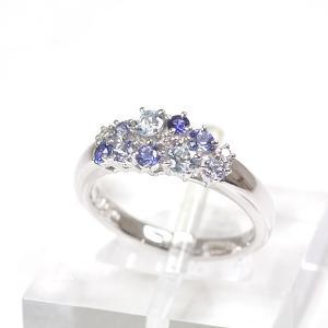 タサキ 田崎真珠 TASAKI K18WG カラーストーン ダイヤモンド デザインリング 11号 ダイヤモンド(0.03ct)/ブルー系カラーストーン  仕上げ済 中古|kadusaya78