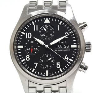 IWC メンズ腕時計 パイロットウォッチ クロノグラフ IW371704 ブラック(黒)文字盤 自動...