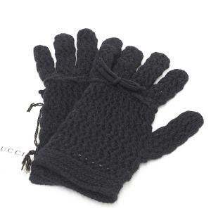 グッチ GUCCI ニット グローブ ブラック ウール100% Mサイズ リボン 手袋 526396 未使用品 kadusaya78