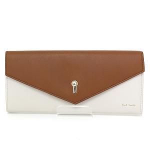 ポールスミス Paul Smith キーホールエンベロープ 長財布 牛革 ホワイト/ブラウン/レッド かぶせ 鍵穴 未使用品|kadusaya78