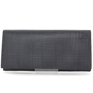 ロエベ LOEWE ロング ホリゾンタル ウォレット カーフスキン ブラック 101.88.978 二つ折り長財布 黒 アナグラム 格子柄 新品同様|kadusaya78