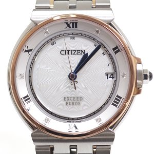 CITIZEN シチズン メンズ腕時計 エクシードユーロス エコドライブ電波時計 AS7076-51A ホワイトシェル 6Pダイヤ【中古】 kadusaya78