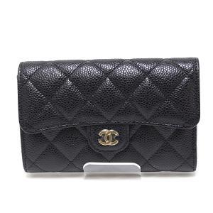 CHANEL シャネル キャビアスキンマトラッセ 三つ折り財布 ブラック(黒)29番台(2020年製)未使用品|kadusaya78
