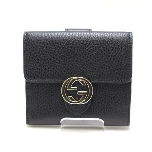 GUUCI グッチ アウトレット インターロッキングG 二つ折り財布 598167 ブラック(黒)未使用品|kadusaya78