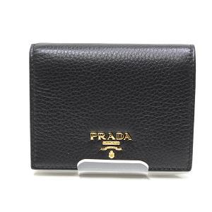 PRADA プラダ 二つ折り財布 1MV204 VITELLO GRAIN(カーフレザー)NERO(ブラック)未使用品|kadusaya78