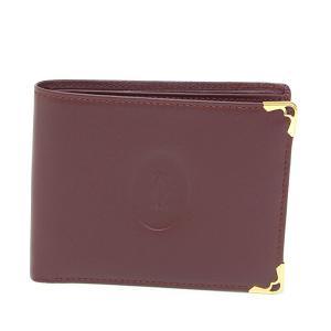 カルティエ Cartier マスト ドゥ カルティエ 二つ折り財布 バーガンディ/ゴールド金具 カーフ ボルドー L3000079 札入れ 小銭入れ無 新品同様|kadusaya78