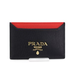 プラダ PRADA カードケース 1MC208 ブラック レッド VITELLO MOVE BI NERO LACCA パスケース 【中古】Sランク kadusaya78