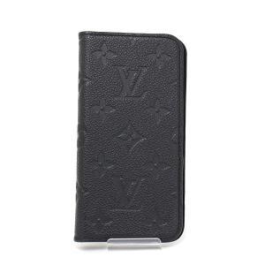ルイヴィトン LOUIS VUITTON IPHONE X & XS・フォリオ モノグラム・アンプラント ノワール 黒 M63586 手帳型 アイフォンカバー 中古|kadusaya78