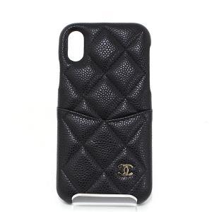 シャネル CHANEL マトラッセ iPhone X XS ケース キャビアスキン ブラック/ゴールド A83565 アイフォンケース ココマーク キルティング 新品同様|kadusaya78