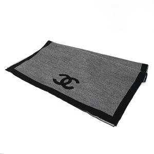 シャネル CHANEL マフラー カシミヤ70%  シルク30% グレー ブラック ココマーク 未使用品|kadusaya78