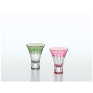 日本製 八千代切子 万華鏡 杯ペアセット 菊柄 紅梅柄 盃 ぐいのみ 日本酒1セット1点 32376 G543-T67|kaede-shopmart