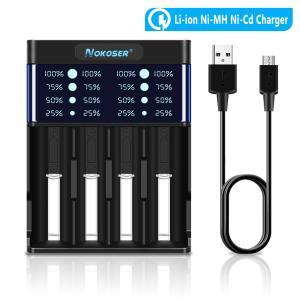 A4急速電池充電器 NOKOSER 充電式乾電池 充電器セット4本用 単3単4 充電式リチウムイオン/ニカド/ニッケル水素電池 充電器 USB 26650 22650 18500 18490 17500 1|kaedenomori
