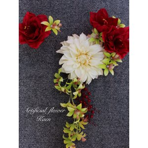 白いダリア、赤いアマリリス、オーキッドの髪飾り 成人式 和装 振袖 卒業式  入学式 七五三 結婚式 パーティー|kaen