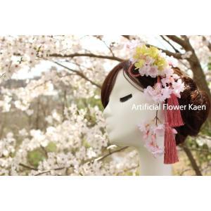 ピンクしだれ桜 の髪飾り 成人式 和装 振袖 卒業式  入学式 七五三 結婚式 パーティー|kaen