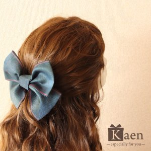 青緑 リボン 髪飾り 卒業式 袴  成人式 和装 振袖  入学式 七五三 結婚式 パーティー|kaen