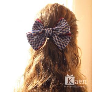 青 リボン 髪飾り 卒業式 袴  成人式 和装 振袖  入学式 七五三 結婚式 パーティー|kaen