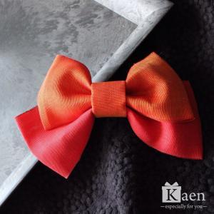 オレンジ、赤色 リボン 髪飾り 卒業式 袴  成人式 和装 振袖  入学式 七五三 結婚式 パーティー|kaen