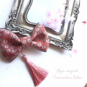 ミニリボン 桜 ピンク  お宮参り 和装 髪飾り 日本製 着物 七五三 結婚式  ヘアアクセサリー クリップ 和風|kaen