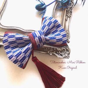 ミニリボン 紺色 矢  お宮参り 和装 髪飾り 日本製 着物 七五三 結婚式  ヘアアクセサリー クリップ 和風|kaen