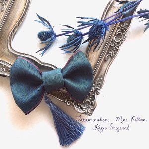 ミニリボン 青緑 お宮参り 和装 髪飾り 日本製 着物 七五三 結婚式  ヘアアクセサリー クリップ 和風|kaen
