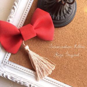 ミニリボン 赤 お宮参り 和装 髪飾り 日本製 着物 七五三 結婚式  ヘアアクセサリー クリップ 和風|kaen