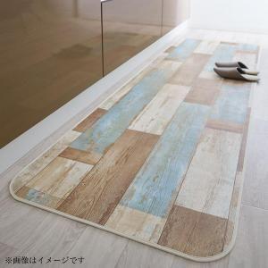 拭ける・はっ水 古木風ダイニングラグ Floldy フロルディー キッチンマット 65×210cm[4D][00]
