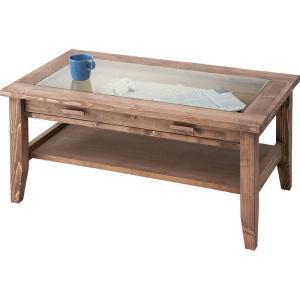 アンティーク風木製リビングテーブル(ガラス天板) 幅90cm ルーアン 風木製リビングテーブル(ガラス天板) 幅90cm cfs-842|kag-deli
