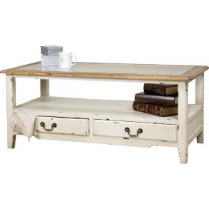 アンティーク風木製リビングテーブル ブロッサム 幅110cm ホワイト 風木製リビングテーブル ブロッサム 幅110cm ホワイト col-013|kag-deli