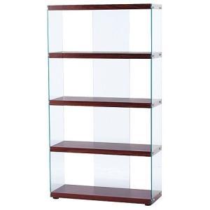 ガラスオープンラック ハブ ブラウン 幅83cm高さ150cm ガラスオープンラック ブラウン 幅83cm高さ150cm hab-624br|kag-deli