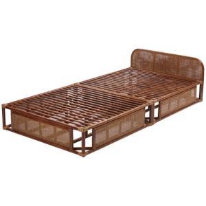 籐すのこベッド フレームのみ シングル ブラウン ラタンベッド すのこ シングルベッド 籐 ラタン 軽量 アジアン 一人暮らし ワンルーム すのこベッド|kag-deli