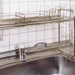 水切り ラック 棚 かご コップ 皿 流し台 流し シンク上 伸縮 大容量 ステンレス すきま すき...