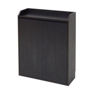食器棚 電話台 書棚 扉 幅60 ダークブラウン 茶色 ( ファックス台 FA×台 シェルフ ファックススタンド テレフォンラック 玄関収納 キャビネット ルーター )の写真