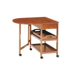 キッチンワゴン キャスター バタフライ 木製テーブル ワゴン ブラウン 茶色 ( キャスター 書類 ファイル 調味料 小物 収納 木製 棚 キャビネット チェスト )の写真