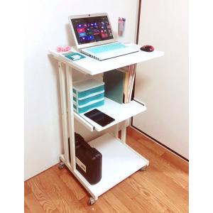 スタンディングデスク 白 コンセント テーブル ハイタイプ パソコン デスク キャスター
