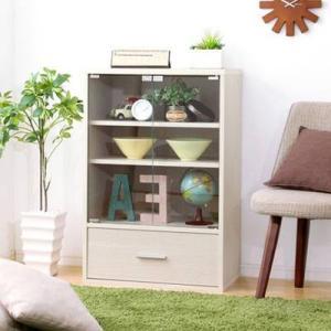 食器棚  キッチン 食器収納 キッチンラック レンジ台 レンジ棚 ロータイプ 小型 ミニ食器棚 約 ...
