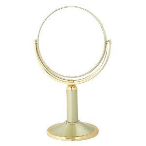 拡大鏡 両面鏡 卓上鏡 スタンドミラー(鏡 ミラー  卓上 化粧鏡 スタンド 卓上) (普通鏡 拡大鏡5倍 両面鏡)(ゴールド)(角度調節可):2d01A3dGD|kagami