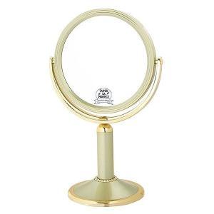 拡大鏡 両面鏡 卓上鏡 スタンドミラー(鏡 ミラー  卓上 化粧鏡 スタンド 卓上) (普通鏡 拡大鏡5倍 両面鏡)(ゴールド)(角度調節可):2d01A3dGD|kagami|02
