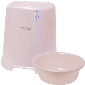 バスチェア&ウオッシュボールセット(バスチェアー 洗面器  セット バス チェアー シャワーチェア ウォッシュボール):2t10137-21014h3|kagami