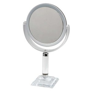 鏡 ミラー 拡大鏡 両面鏡 卓上鏡 スタンドミラー メーキャップミラー 化粧鏡 洗面所 鏡(普通鏡 拡大鏡3倍 両面鏡)(角度調節可):8d26d3|kagami